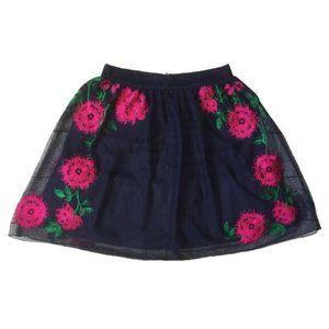 Speechless Navy Rose Tulle Floral Mini Skirt Size 5